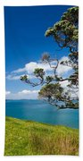 Coastal Farmland Landscape With Pohutukawa Tree Beach Towel