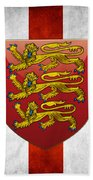 Coat Of Arms And Flag Of England Beach Towel
