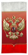 Coat Of Arms And Flag Of Russia Beach Towel