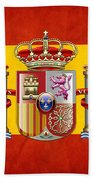 Coat Of Arms And Flag Of Spain Beach Towel