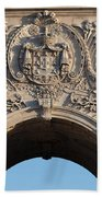 Coat Of Arms Of Portugal On Rua Augusta Arch In Lisbon Beach Towel