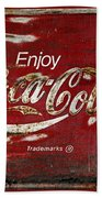 Coca Cola Red Grunge Sign Beach Towel