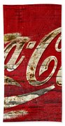 Coca Cola Sign Cracked Paint Beach Towel
