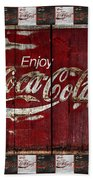 Coca Cola Sign With Little Cokes Border Beach Towel