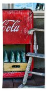 Coca Cola Vintage Cooler And Rocking Chair Beach Sheet