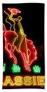 Cody Wyoming Neon Lounge Sign At Night Beach Towel