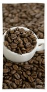 Coffe Beans And Coffee Cup Beach Towel