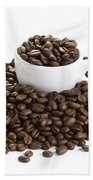 Coffee Beans And Coffee Cup Isolated On White Beach Towel