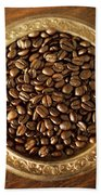 Coffee Beans On Antique Silver Platter Beach Towel