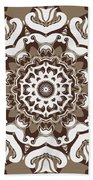 Coffee Flowers 10 Ornate Medallion Beach Towel by Angelina Vick