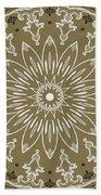 Coffee Flowers 11 Olive Ornate Medallion Beach Towel