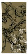 Coffee Flowers 3 Olive Beach Towel