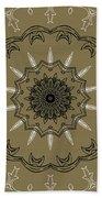 Coffee Flowers 3 Olive Ornate Medallion Beach Towel