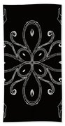 Coffee Flowers 4 Bw Ornate Medallion Beach Towel