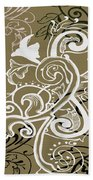 Coffee Flowers 5 Olive Beach Towel