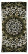 Coffee Flowers 6 Olive Ornate Medallion Beach Towel