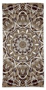 Coffee Flowers 7 Ornate Medallion Beach Towel