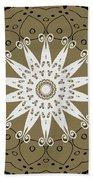 Coffee Flowers 9 Olive Ornate Medallion Beach Towel