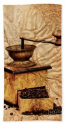 Coffee Mill And Beans In Grunge Style Beach Towel