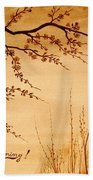 Coffee Painting Cherry Blossoms Beach Towel by Georgeta  Blanaru