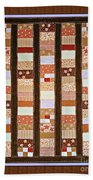 Coin Quilt -  Painting - Brown And White Patches Beach Towel