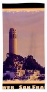 Coit Tower Poster Beach Towel