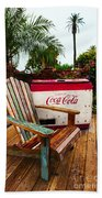 Vintage Coke Machine With Adirondack Chair Beach Towel