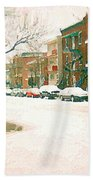 Cold Day In Montreal Pointe St Charles Art Winter Cityscene Painting After Big Snowfall Psc Cspandau Beach Towel