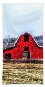 Cold Winter Day At The Farm Beach Towel