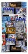 Collage Xmas Cards Vertical Photo Art Beach Towel