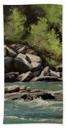 Colliding Rivers Beach Towel