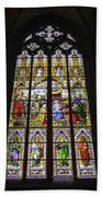 Cologne Cathedral Stained Glass Window Of The Adoration Of The Magi Beach Towel