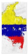 Colombia Painted Flag Map Beach Towel