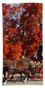 Carriage In Autumn Beach Towel