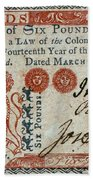 Colonial Currency, 1776 Beach Towel