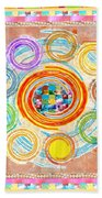 Color Circles Crystal Stones Borders Chakra Energy Healing Beach Towel