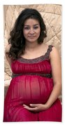 Color Portrait Young Pregnant Spanish Woman I Beach Towel