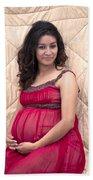 Color Portrait Young Pregnant Spanish Woman II Beach Towel