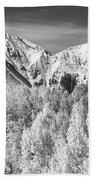 Colorado Rocky Mountain Autumn Magic Black And White Beach Towel
