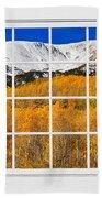 Colorado Rocky Mountain Autumn Pass White Window View  Beach Towel