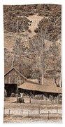 Colorado Rocky Mountain Barn Sepia Beach Towel
