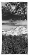 Colorado Rocky Mountain View Black And White Beach Towel
