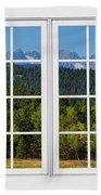 Colorado Rocky Mountains White Window Frame View Beach Towel