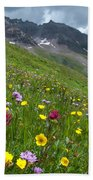 Colorado Wildflowers And Mountains Beach Towel by Cascade Colors