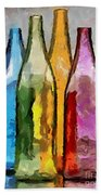 Colored Glass Bottles Beach Towel
