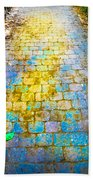 Colored Stones And Lichen Covered Bridge Beach Towel