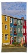 Colorful Apartment Buildings In Saint John's-nl Beach Towel