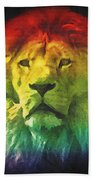 Colorful Artistic Portrait Of A Lion On Black Background  Beach Towel