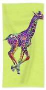 Colorful Baby Giraffe Beach Towel