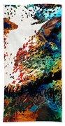 Colorful Bear Art - Bear Stare - By Sharon Cummings Beach Sheet